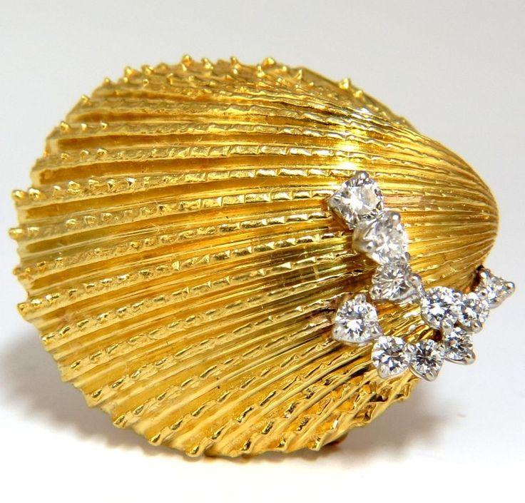 KURT WAYNE .50CT DIAMONDS SHELL PENDANT BROOCH 18K & PLATINUM VINTAGE CLASS #Unbranded