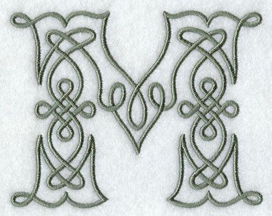 M Letter Design   ... Designs at Embroidery Library! - Celtic Knotwork Letter M - 4 Inch