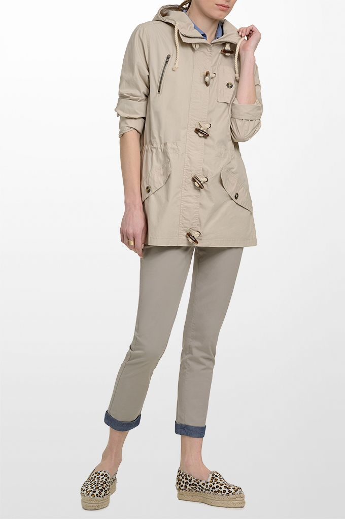 Sarah Lawrence - drawstring outerwear with hood, cropped pant with embroidery.