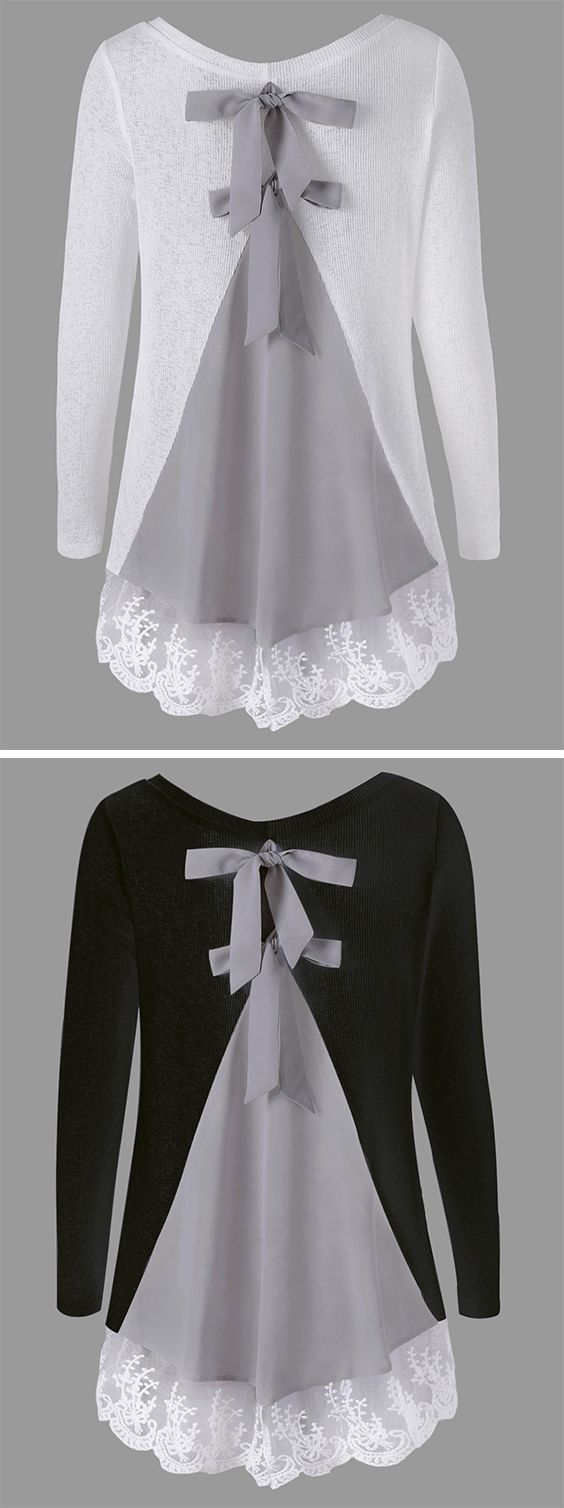 Free Shipping Worldwide!This is a sweet knit top! It's features color block,bowknot in the back,paired with comfortable material. This top also features lace panel,round neck,long sleeve.