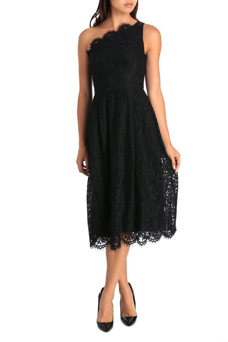 BLACK ONE SHOULDER LACE DRESS