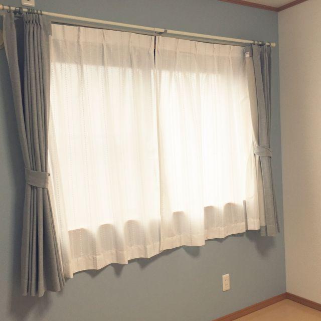 ニトリ カーテン 水色壁紙のインテリア実例