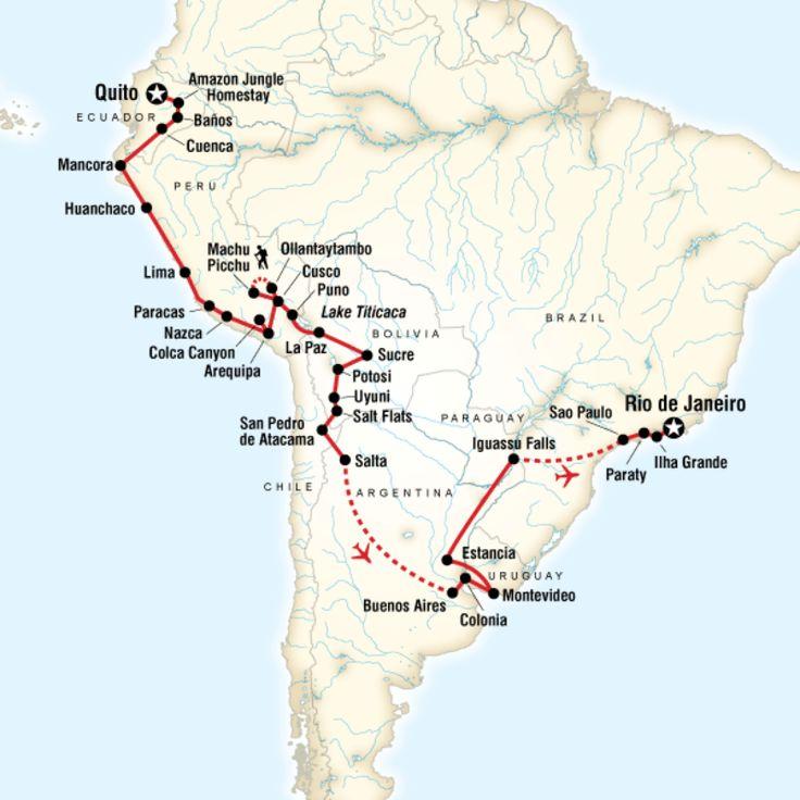 Quito to Rio €5299 65 dagen WEINIG CAMPING!!!