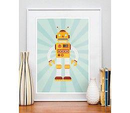 Welke jongen wil nou niet zo'n grappige poster van een robot op zijn kamer? Sluit helemaal aan bij de jonge jongensfantasie.