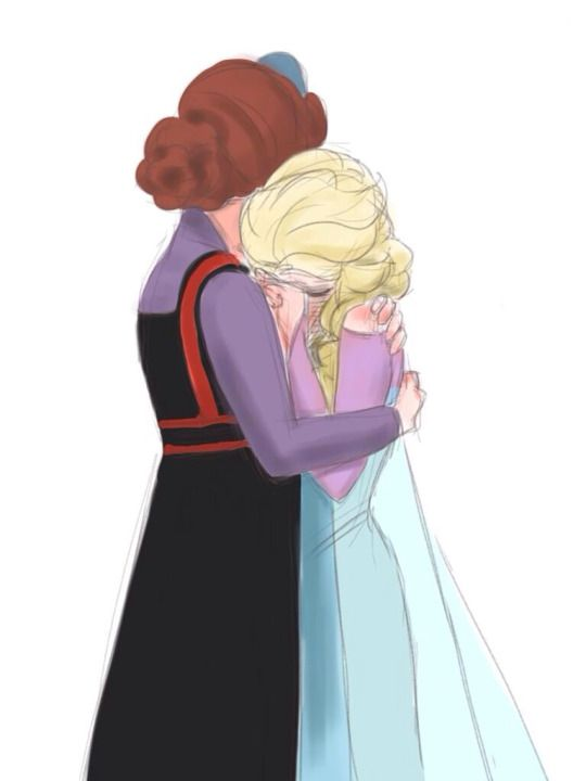 "The Queen of Arendelle and Elsa from ""Frozen"" - Art by nyamo-nyamo.tumblr.com - The caption to this picture reads, ""The truth is that I wanted to hug you."""