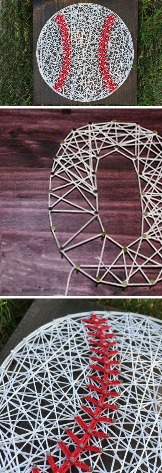 Baseball String Art   Click Pic for 22 DIY Christmas Gifts for Boyfriends   Handmade Gifts for Men on a Budget