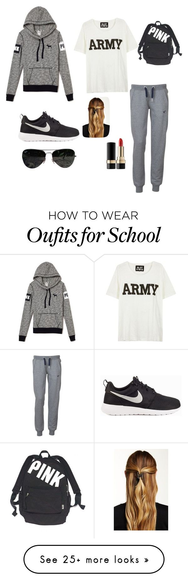 """School outfit"" by melinda-alvarez on Polyvore featuring Voi Jeans, NLST, NIKE, Victoria's Secret, Natasha Accessories, Ray-Ban and Dolce&Gabbana"