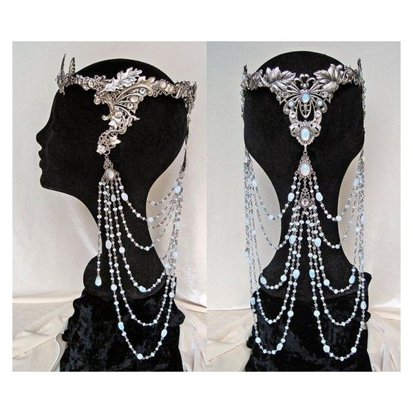 Elven Fairy Wedding Crown Circlet Tiara Arwen Galadriel Opal Moonstone... ❤ liked on Polyvore featuring accessories, hair accessories, tiara crown, head wrap headband, headband crown, headband tiara and jeweled headband