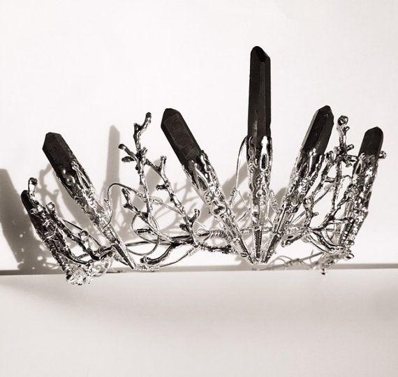 The DUSK VENUS Crown – Black Crystal Crown Tiara – Magical Headpiece. Gothic Alternative Bride, Festival, Game of Thrones