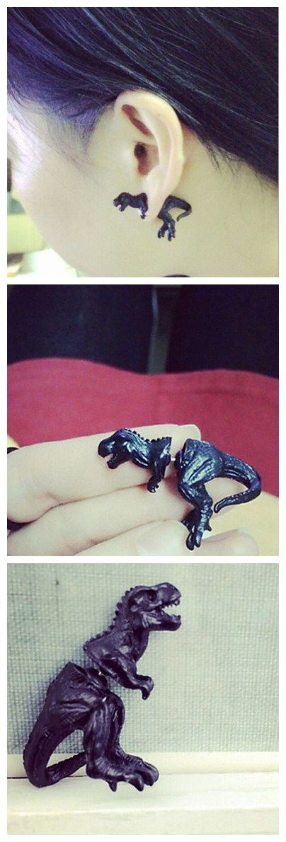 What a cool 3D dinosaur earring! It wears like a stud, but looks like a gauge! Will you try it out?