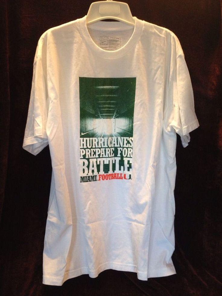 Nike Hurricanes Prepare for Battle Miami University Football Med White T Shirt #Nike #MiamiHurricanes
