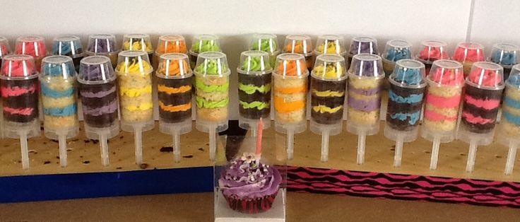Fun creative cake push pops. Possibilities are endless!!