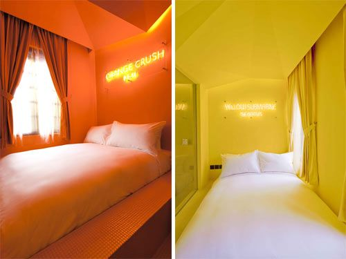 The Wanderlust Hotel in Little India, Singapore has themed rooms based around the Pantone colour system. Wow.