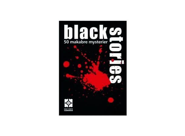 Black Stories Kort/Brettspill norsk utgave. En samling makabre og overraskende mysterier som kunne ha foregått på den måten som beskrives, eller i det minste NESTEN på den måten som beskrives. Noen ganger er det over veldig kjapt: To eller tre spørsmål og dere er allerede på rett spor. Men like ofte viser det seg at tilsynelatende enkle mysterier kan være svært vanskelig å finne løsningen på. 50 mørke historier, 31 forbrytelser, 49 lik, 11 mordere, 12 selvmord og et dødelig måltid. Hvord...