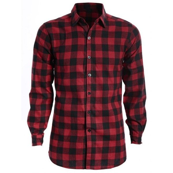 Mens Casual Checked Shirt (1.095 RUB) ❤ liked on Polyvore featuring men's fashion, men's clothing, men's shirts, men's casual shirts, mens checkered shirts, mens checked shirts, mens red and black flannel shirt and mens red and black checked shirt