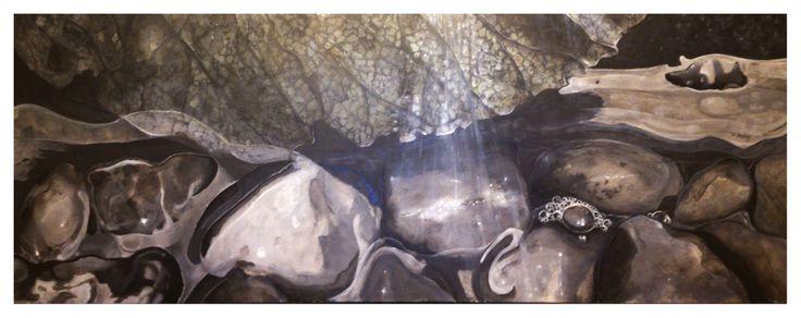 René van Wasbeek - Stones 80x28 cm, acryl painting, 2013