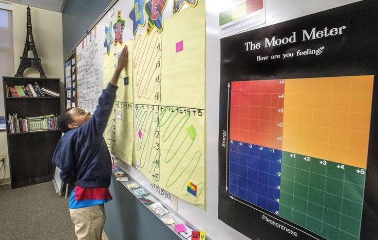 Branton Waitiki, a sixth-grader in Sara Stipes-Carder's sixth-grade class at First Creek Middle School in Tacoma, uses the mood meter to plot his emotional state at the beginning of class Nov. 1. Tacoma School District started using the Whole Child Initiative a few years ago hoping to turn the tables on school discipline.