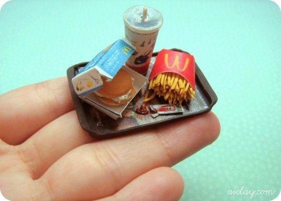 Miniature Mcdonald's meal - on my hand.