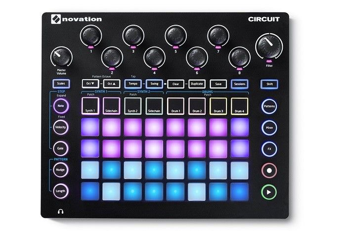 Introducing The Novation Circuit Groove Box Synth and Drum Machine  Looking for that inspiration? Then look no further than the portable and compact Novation Circuit Groove Box synth. Designed with a four-part drum machine and two Novation polysynths it will ensure your latest electronic music is fast creating and on point. Circuit can solely be used to create music as an entity due to its built-in speaker and battery operation.