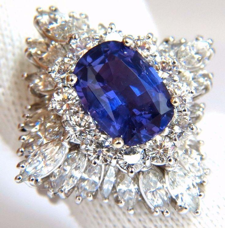 $40000 GIA 7.87CT NATURAL NO HEAT VIVID PURPLE SAPPHIRE DIAMOND RING PLATINUM #AvisDiamond #Cocktail