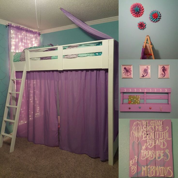 DIY mermaid inspired little girls room. We made the bed from the plans by Anna White. DIY pallet picture and bookshelf/coat rack. I love this little girls room!