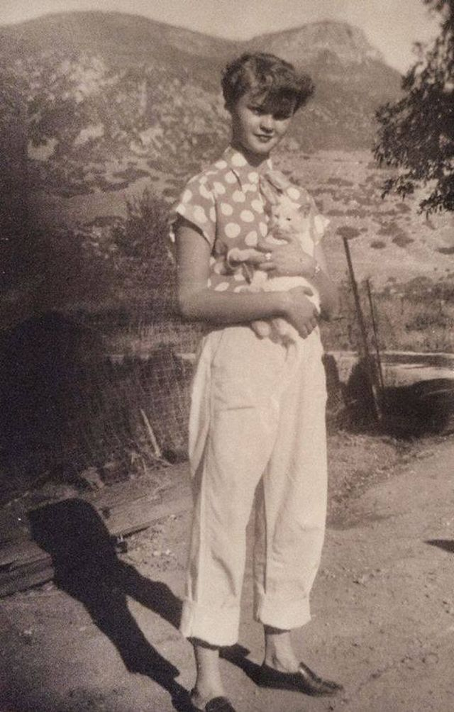 the shirt! 40s era found photo street style casual sportswear vintage fashion pants shoes hair polka dot white short rolled could be early 50s
