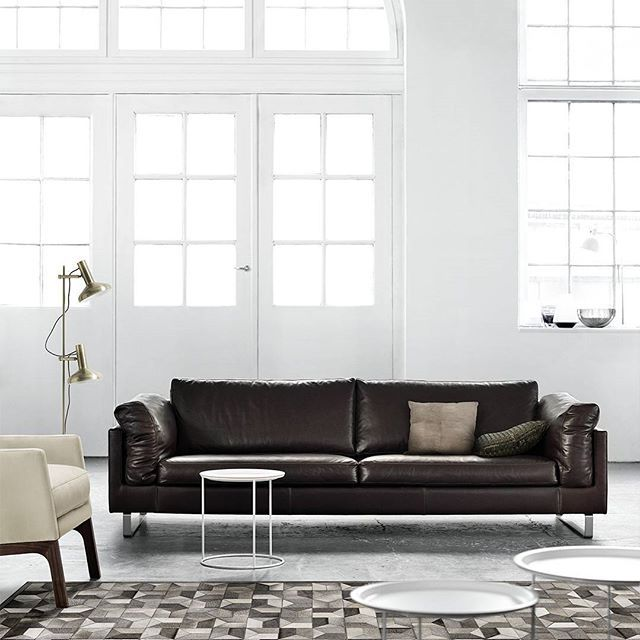 Charming Luscious Dark Leather Against White Wall Is Just So Stylish! #BoConcept  #leathersofa #