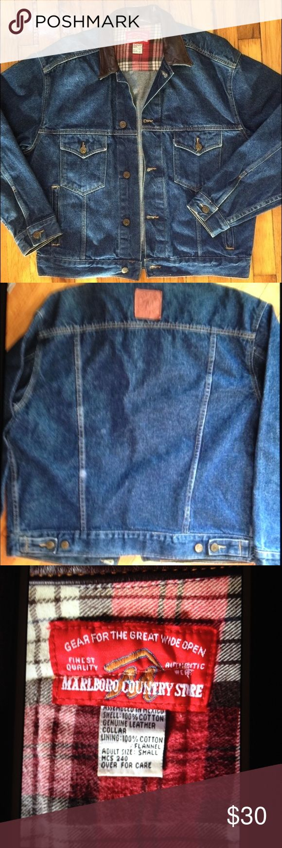 "Denim ""Marlboro"" Jacket w/ Leather Collar Size S Awesome Denim ""Marlboro"" Jacket with leather collar.⬛️ Size Small but runs big. I'd say it's prob close to Women's XL or Mens Large.⬛️ Measurements: 24"" armpit to armpit X 26"".⬛️ New never worn.⬛️ Listing as XL Marlboro  Jackets & Coats Jean Jackets"