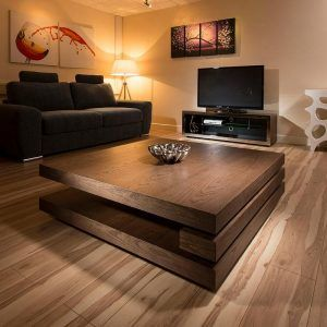 Large Square Dark Wood Coffee Table