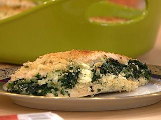 Lazy Baked Greek Chicken  from the  Rachael Ray Show Chicken breast stuffed with spinach, feta and spiced up nice!  Make with out the Panko breadcrumbs :) YUM!