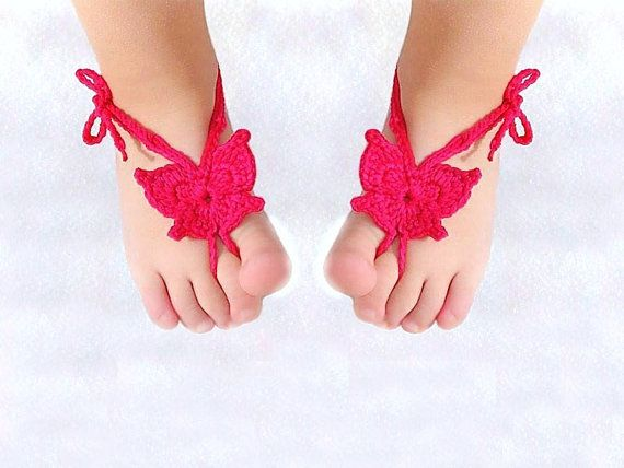 Baby Butterfly Barefoot sandals, Orchid Baby shoes ...