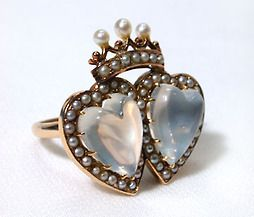 Double moonstone heart ring with seed pearls, probably English, 1880-90