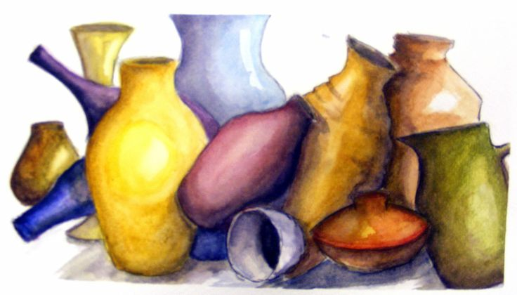 'Tumbling pots' by Aldina Prior. Work inspired by Japanese ceramic vases and pots.