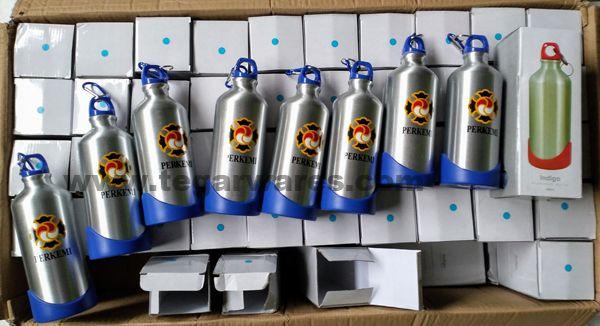 Indigo Aluminium waterbottles, 100 pieces, ordered by PERKEMI (Persatuan Shorinji Kempo Indonesia) Jakarta Indonesia. March 1, 2018
