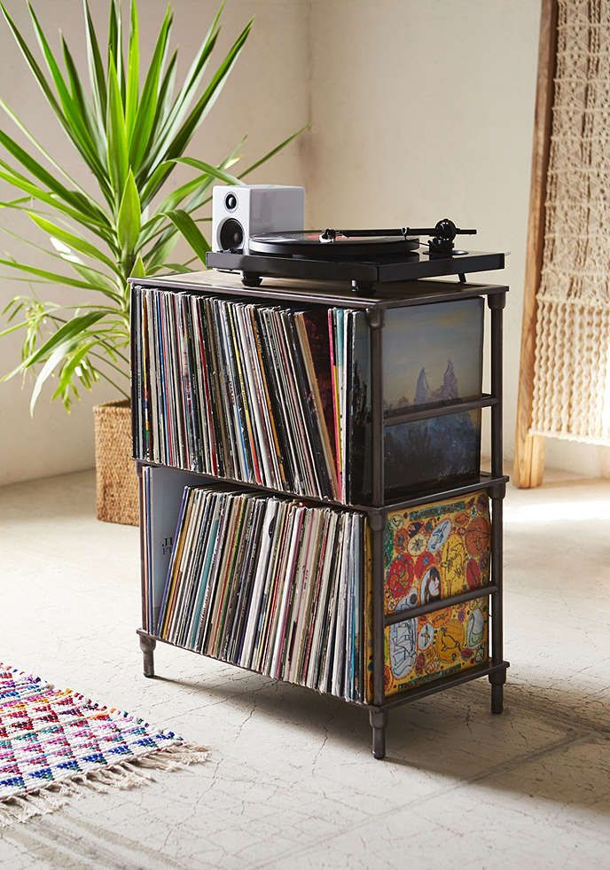 ask robin to make it for us^^ meuble degaspé mtl!!! woot woot Vinyl Storage Shelf - Urban Outfitters