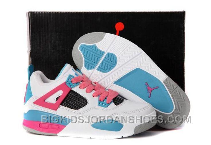 http://www.bigkidsjordanshoes.com/online-nike-air-jordan-4-kids-white-pink-blue-new-arrival.html ONLINE NIKE AIR JORDAN 4 KIDS WHITE PINK BLUE NEW ARRIVAL Only $85.00 , Free Shipping!