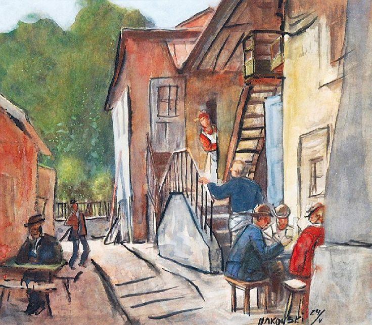 Tadeusz MAKOWSKI (1882-1932)  Lato w małym miasteczku akwarela, gwasz, papier; 19,5 x 20,5 cm (w świetle oprawy); sygn. i dat. p. d.: MAKOWSKI 24/V