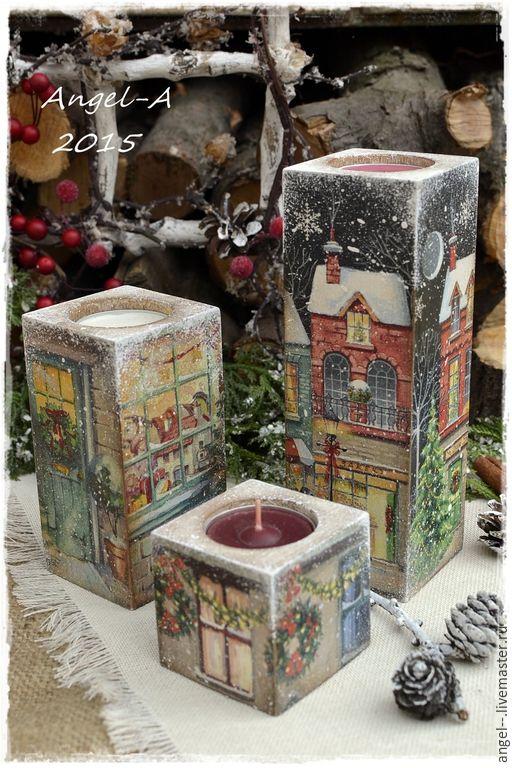 Купить Огоньки Нового года Набор подсвечников - новый год 2016, рождество, огни, подсвечник