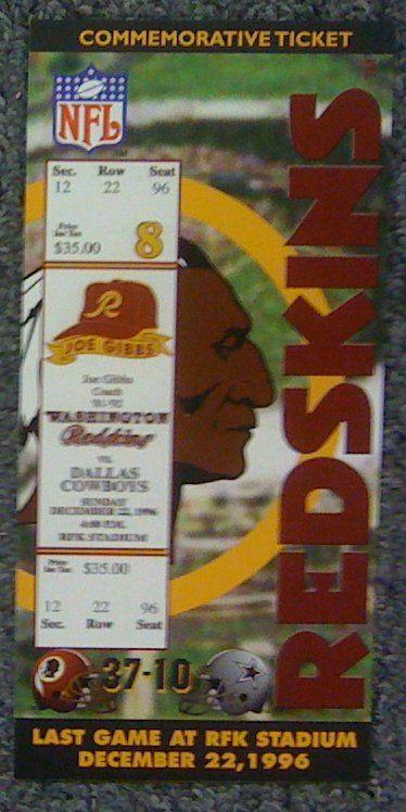 rfk stadium redskins | Washington Redskins Last Game @ RFK Stadium Commemorative Ticket ...