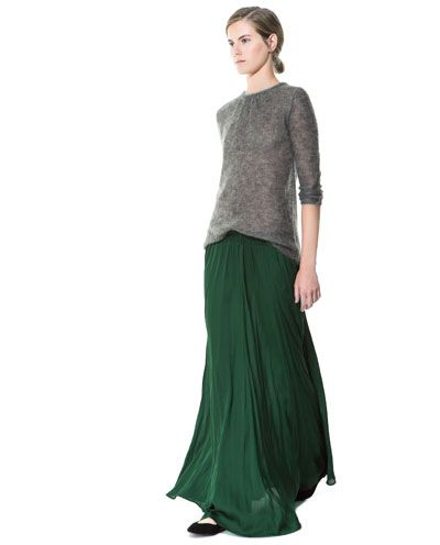 Dark Green Maxi Skirt | Zara