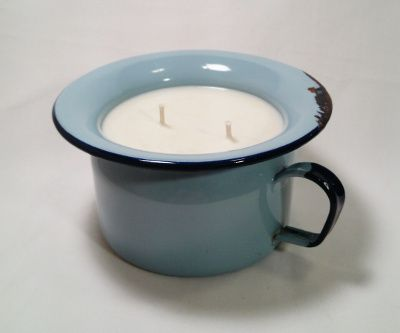Vintage Blue Enamel Dish made into Lavender scented candle. YES PLEASE