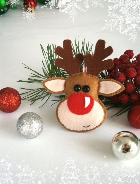 Christmas ornament felt ornaments Christmas felt cute Reindeer Rudolph the red nose reindeer ornament Christmas tree ornaments Xmas gift
