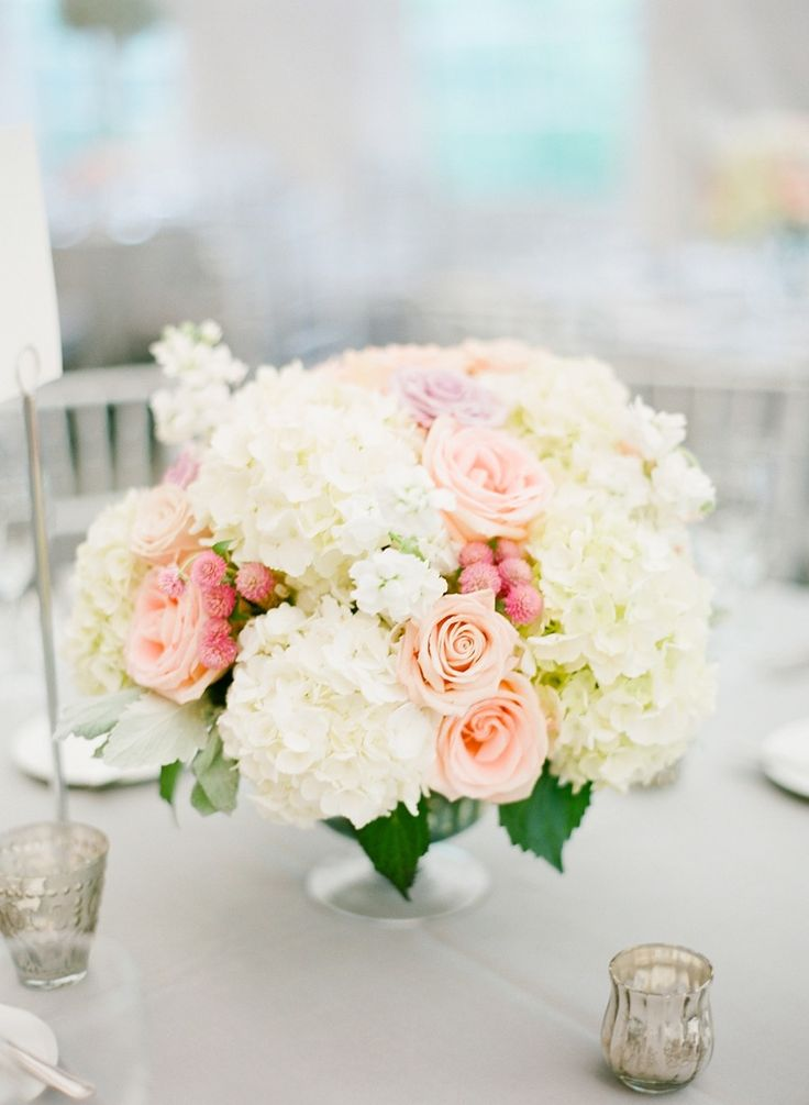 Hydrangea and Rose Centerpieces | http://www.StyleMePretty.com/2013/11/20/a-maryland-estate-wedding-from-jodi-miller-photography/ Jodi Miller Photography