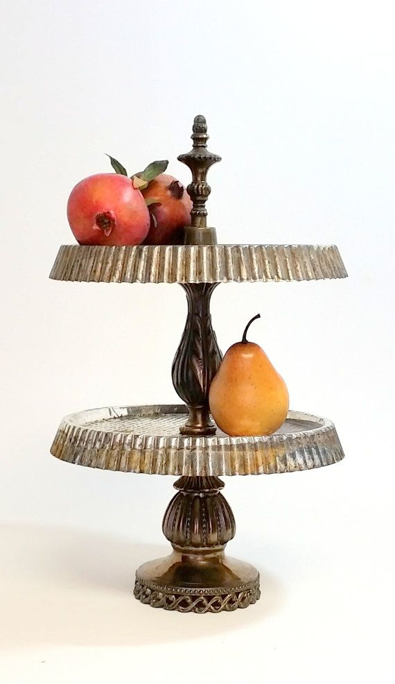 Check out Tiered Tart Tin Tray Cupcake Serving Stand  Re Purposed Salvage Parts on decadesemporium