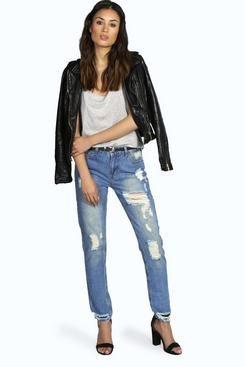 Jody Ultimate Distress Mom Jeans