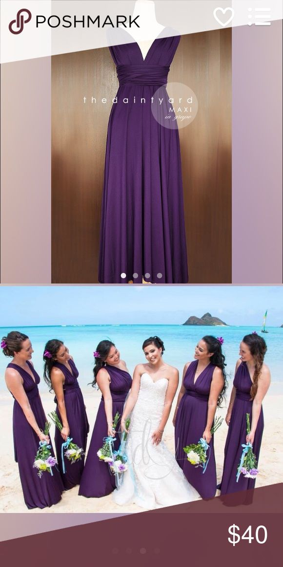 Maxi convertible dress-Bridesmaid Maxi Purple (grape color) convertible maxi dress.  Can be tied over 27 ways.  Can be worn as a Bridesmaid dress or an evening gown to an event.  One size fits all Dresses Wedding