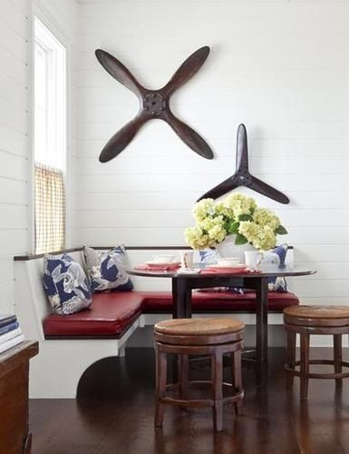 Antique plane propellers mounted on wall
