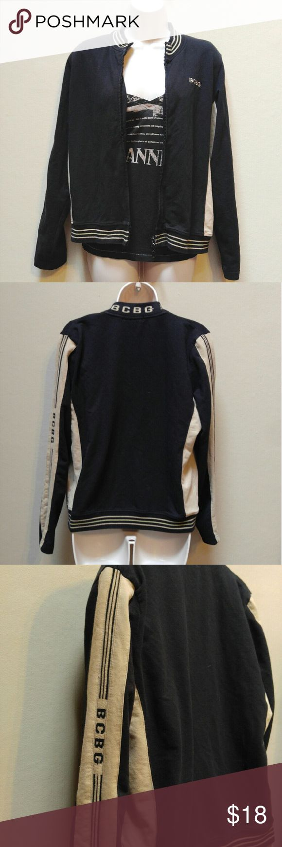 BCBGMaxazria jacket Super cute for Fall.  Brown with tan trim.  BCBG down the left arm.  Good condition.  XL, but works better for L. BCBGMaxAzria Jackets & Coats