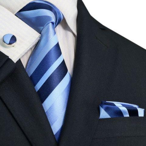 Blue Stripe Silk Necktie Set JPM199 – Toramon Necktie Company