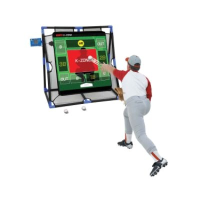 ESPN K-zone Baseball. Fully interactive multi-inning baseball game. Authentic announcer calls the play by play. Umpire calls the balls and strikes. LCD scoreboard displays balls, strikes, innings and men on base. Realistic stadium sound effects. Three different interactive games to choose from.